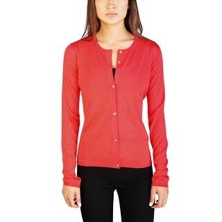 Miu Miu Women's Cashmere Silk Blend Cardigan Sweater Coral - 10