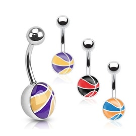 Multi Colored Basketball Inlay 316L Surgical Steel Navel Belly Button Ring (Sold Ind.)