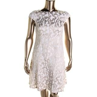 Anne Klein Womens Cap Sleeves Printed Wear to Work Dress