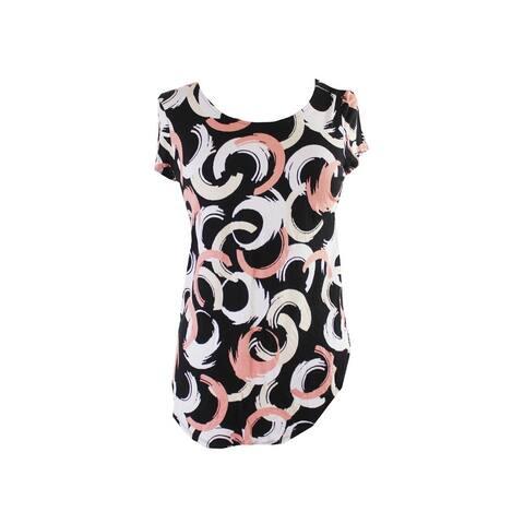 Alfani Black Pink Short-Sleeve Printed T-Shirt XS