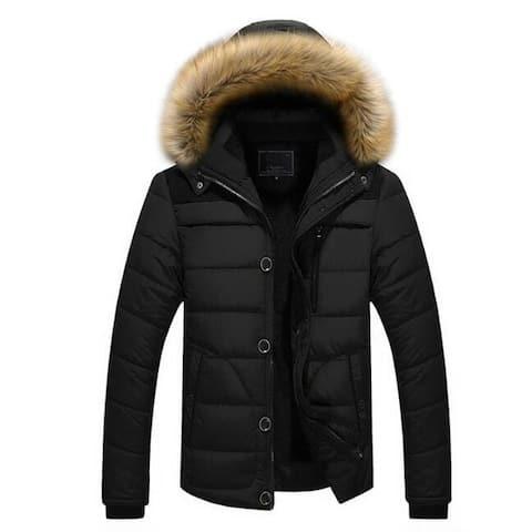 Men's Packable Down Jacket Warm Cotton Puffer Coat Lightweight Windbreaker With Hood