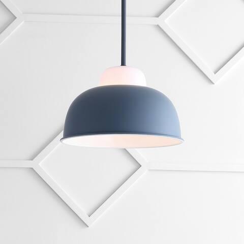 """Simon 12"""" Adjustable Metal/Glass LED Pendant, Gray by JONATHAN Y"""