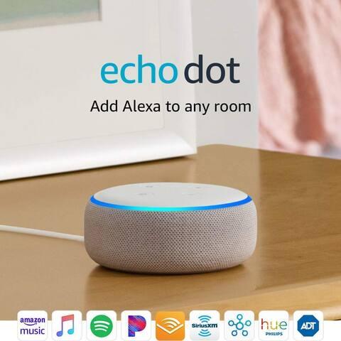 "Amazon Echo Dot 3rd Generation Smart Speaker with Alexa - Sandstone - White - 1.6"""