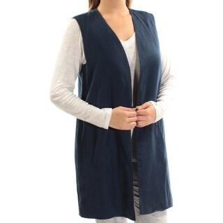 Womens Navy Sleeveless Open Cardigan Top Size L