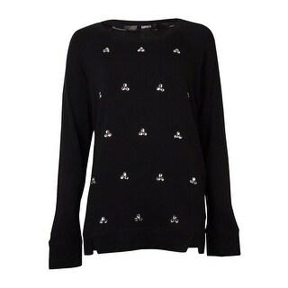 Kensie Women's Long-sleeve Scoop-neck Embellished Sweater