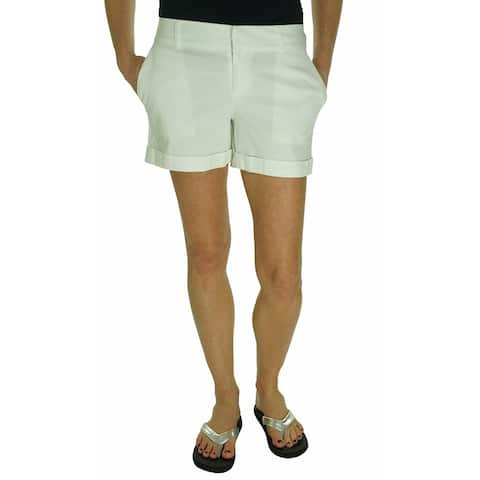 Maison Jules Womens Solid Flat Front Casual Shorts White 8 - Brightwhite