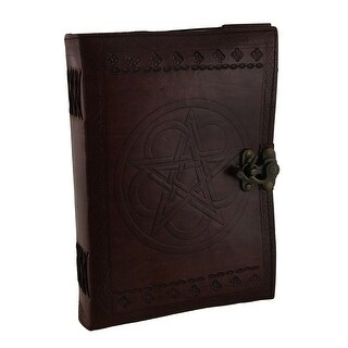 Large Embossed Leather Celtic Pentagram 184 Leaf Diary Journal - Brown