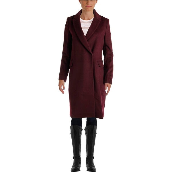 Elie Tahari Womens Trench Coat Wool Blend Double Breasted