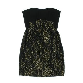 Diane Von Furstenberg Womens Garland Metallic Shelf-Bra Cocktail Dress