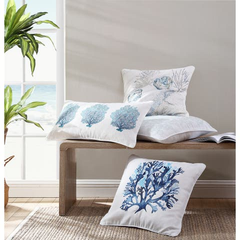 Tommy Bahama Embroidered Canvas Throw Pillows