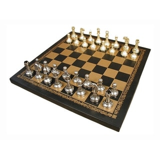Staunton Metal Chess Set With Pressed Leather Board - Multicolored
