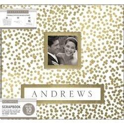 "Gold Foil Scatter Dots - K&Company Frame-A-Name Post Bound Album 12""X12"""