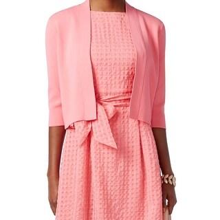 Anne Klein NEW Pink Women's Size XL Cropped Open Textured Jacket