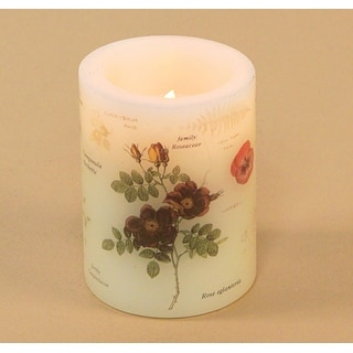 Pack of 6 Flower Pattern Battery Operated Flameless LED Wax Pillar Candles 4""