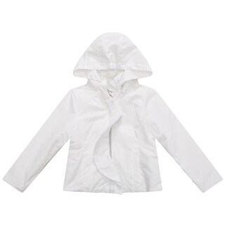 Richie House Little Girls White Solid Colored Ruffle Detail Hooded Coat 1-6