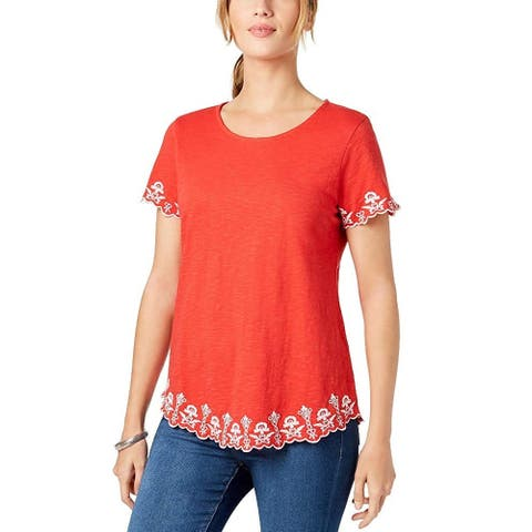 Charter Club Women's Cotton Embroidered Top Warm Spice Size Extra Large - Red - XX-Large