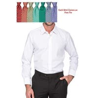Porto Filo Men's Wrinkle Free Classic Cut Dress Shirt with Complimentary Tie (12 Color Options)