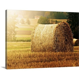 """Hay bale on field."" Canvas Wall Art"