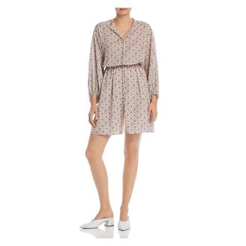 JOIE Pink Long Sleeve Short Shirt Dress Dress Size L