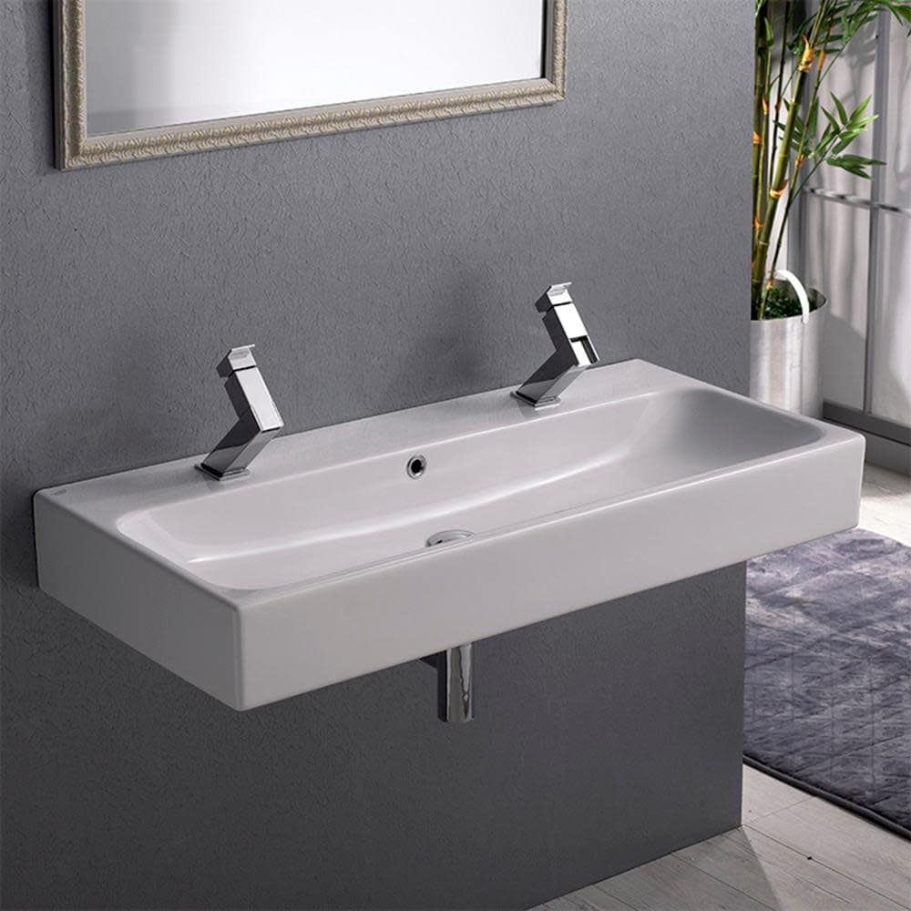 Nameeks 080500 U Cerastyle 40 Ceramic Wall Mounted Bathroom Sink With White Two Holes Overstock 16397003 White Two Holes