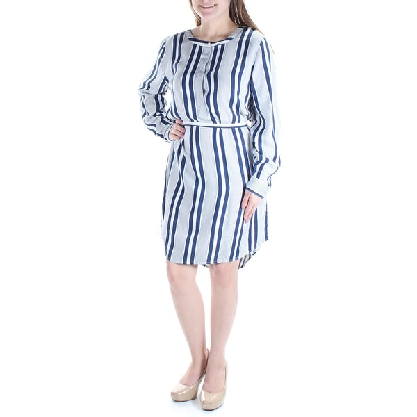 c20ae271e0f Shop VINCE CAMUTO Womens Blue Belted Striped Cuffed Jewel Neck Knee Length Shirt  Dress Size  M - On Sale - Free Shipping On Orders Over  45 - Overstock - ...