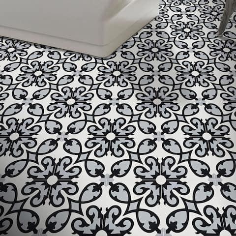 Handmade Agadir in Grey, Black, White Tile, Pack of 12