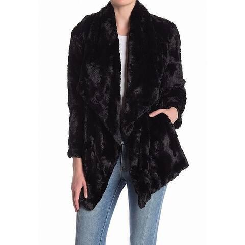 BB Dakota Black Womens Size XXL Plus Faux-Fur Open Front Jacket