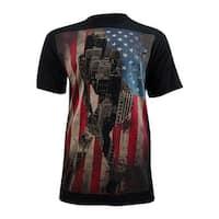 Ring of Fire Men's American Flag Graphic T-Shirt (L, Black) - black - l