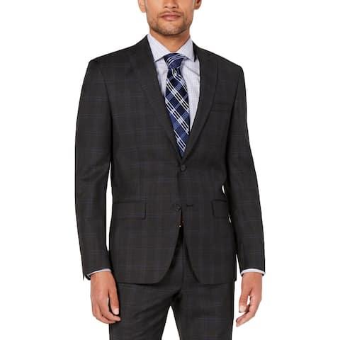 DKNY Mens Jacket Wool Plaid - Grey/Blue - 40L