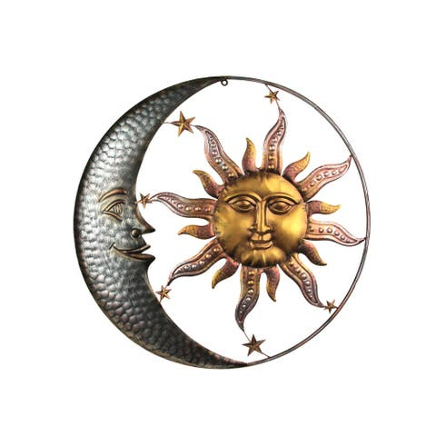 28 Inch Diameter Three Tone Metal Art Celestial Sun and Moon Indoor Outdoor Wall Hanging