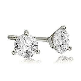 2.00 cttw. 14K White Gold Round Cut Diamond Martini 3-Prong Stud Earrings
