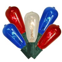 Set of 10 Transparent Red, Clear & Blue 4th of July ST40 Edison Style Christmas Lights - Green Wire