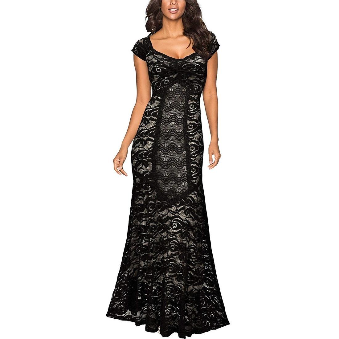 Miusol Black Womens Size Large L Deep V Neck Floral Lace Maxi Dress