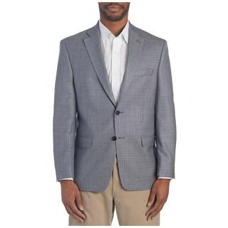 Izod Mens Regular Fit Sportcoat Blazer 44 Long 44L Grey Houndstooth Windowpane