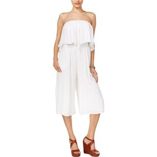 Guess Womens Jumpsuit Smocked Ruffled Neckline - xs