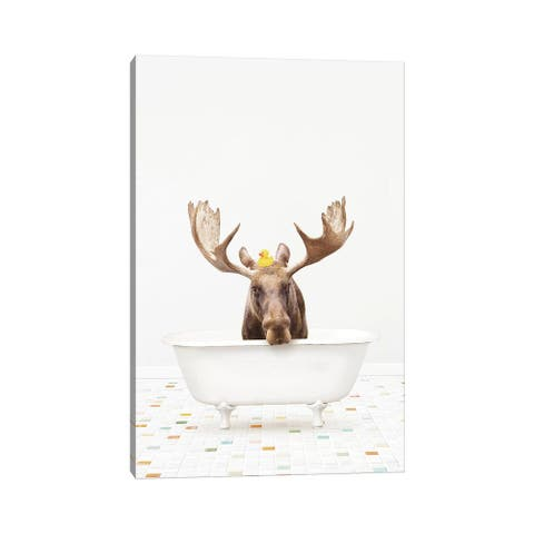 """iCanvas """"Moose In A Vintage Bathtub With Rubber Ducky"""" by Amy Peterson Canvas Print"""