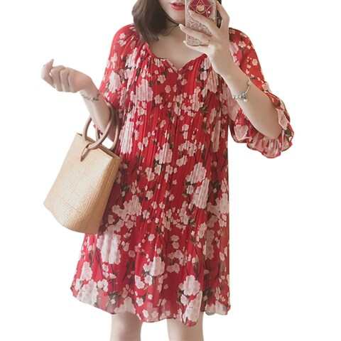 QZUnique Women's Chiffon Plus Size Floral Print Midi Dresses Falbala Mandarin Medium Sleeves Loose Skirt