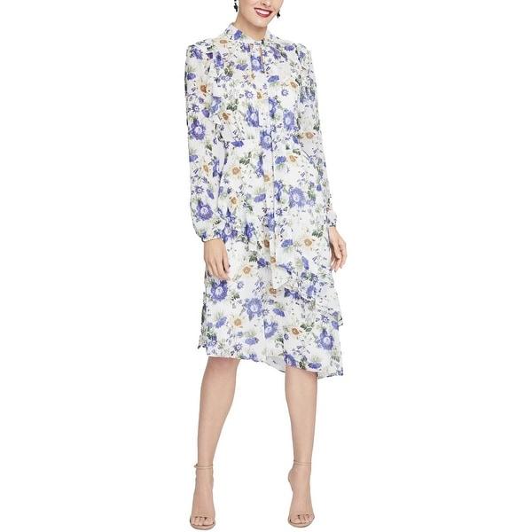 Rachel Rachel Roy Women/'s Printed Draped Back Midi Dress Multicolor Medium
