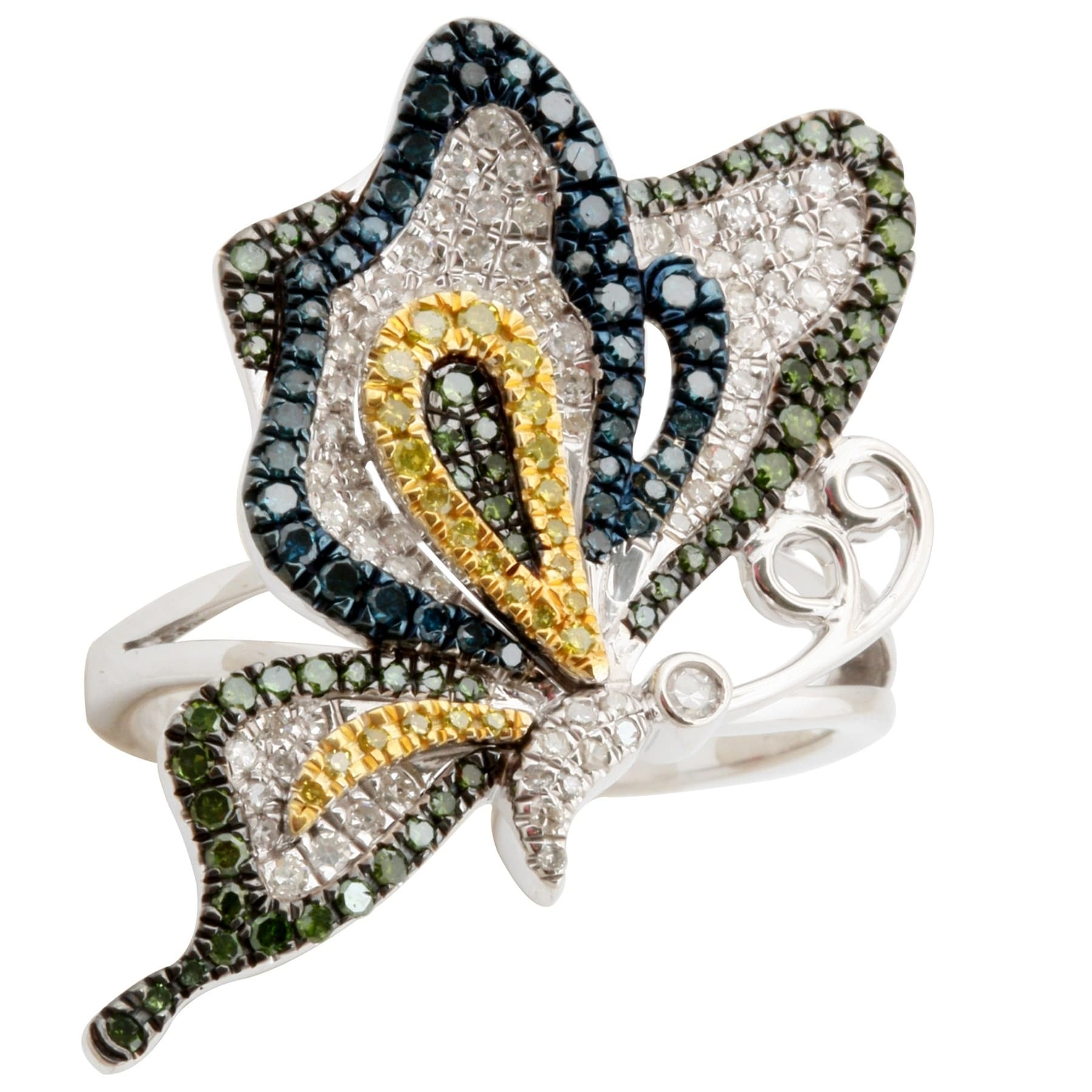Fabulous 1.01 TCW Real Round Brillaint Cut Multi Color Diamond With Diamond Butterfly Ring - Thumbnail 0