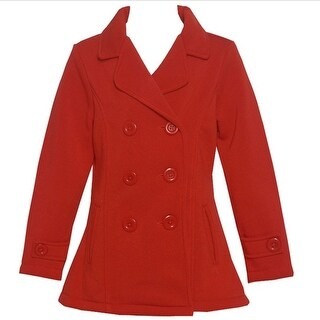 Littoe Potatoes Girls Red Double Breasted Front Pocket Button Coat