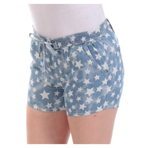 Womens Blue Star Casual Cropped Short Size 2XS