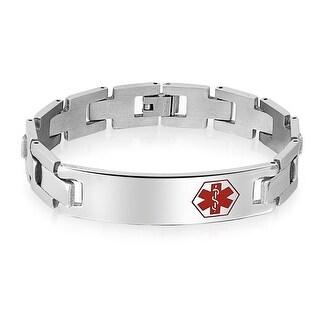 Bling Jewelry Mens Medical Alert ID Tag Steel Identification Bracelet 8in