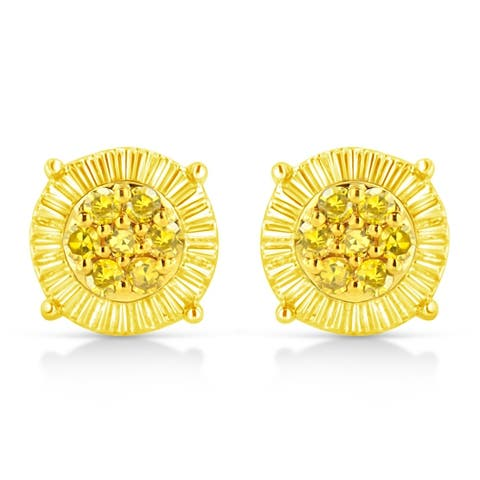 10K Yellow Gold Plated .925 Sterling Silver 1/4 Cttw Yellow Color Treated Diamond Cluster Flower Earrings (Yellow color, I2-I3)