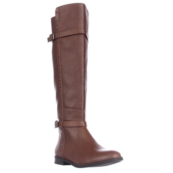 I35 Ameliee Side Studded Knee High Boots, Cognac