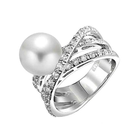 CZ Criss Cross Imitation Pearl Cocktail Ring For Women Rhodium Plated