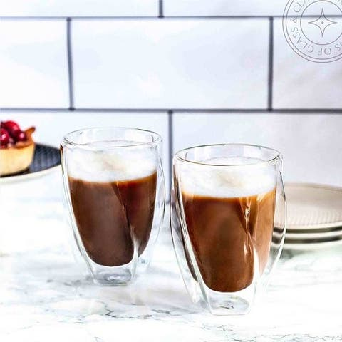 JoyJolt Lacey Double Wall Insulated Glasses, 10 Oz Set of Two Cappuccino Mugs