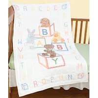 "Baby Blocks - Stamped White Quilt Crib Top 40""X60"""