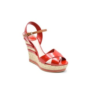 Dior Riviera Wedge Red Patent leather Platform Sandals Size 37.5 / 7.5