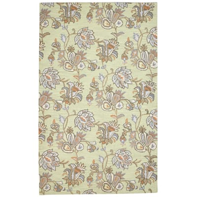 """One of a Kind Hand-Tufted Modern & Contemporary 5' x 8' Floral & Botanical Wool Green Rug - 4'11""""x8'0"""""""