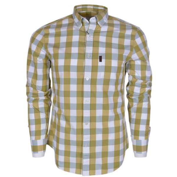 22a9e16f Burberry Brit Men's Fred Yellow Nova Check Cotton Long Sleeve Shirt XL